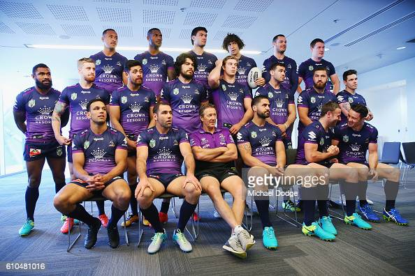 The Storm players wait to be photographed during a Melbourne Storm NRL media opportunity at AAMI Park on September 26 2016 in Melbourne Australia