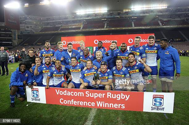 The Stormers are presented with the SA conference trophy during the Super Rugby match between the DHL Stormers and Southern Kings at DHL Newlands on...