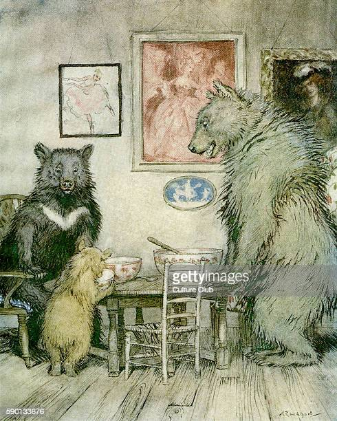 The Story of the Three Bears English fairy tale Caption reads 'Somebody has been at my porridge and has eaten it all up' Illustration by Arthur...