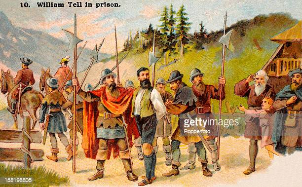 The story of William Tell featured on a vintage trade card published in Holland circa 1900