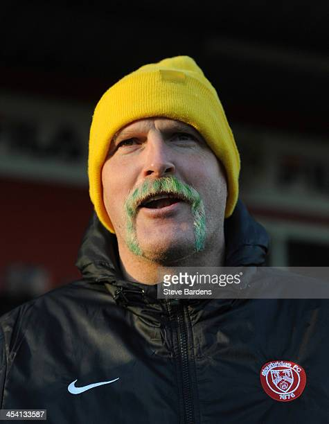 The Stourbridge FC assistant manager Jon Ford and his yellow and blue moustache before the FA Cup second round match between Stevenage FC and...