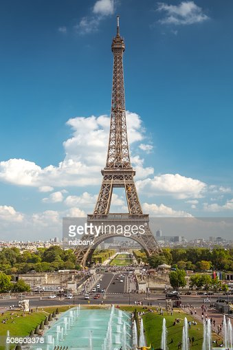 The straight Eiffel tower : Stock Photo