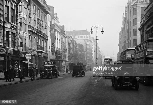 The Strand in London looking toward St MaryleStrand Church circa 1925