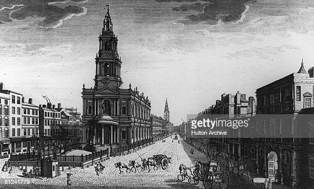 1753 The Strand London with St Mary's Church and Somerset House Original Artwork Engraved by Bonlea pub 1753