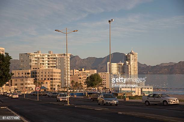The Strand Western Cape South Africa Evening Light on the Buildings at the Strand a Seaside Resort Overlooked by the Hottentot Mountains Southern...