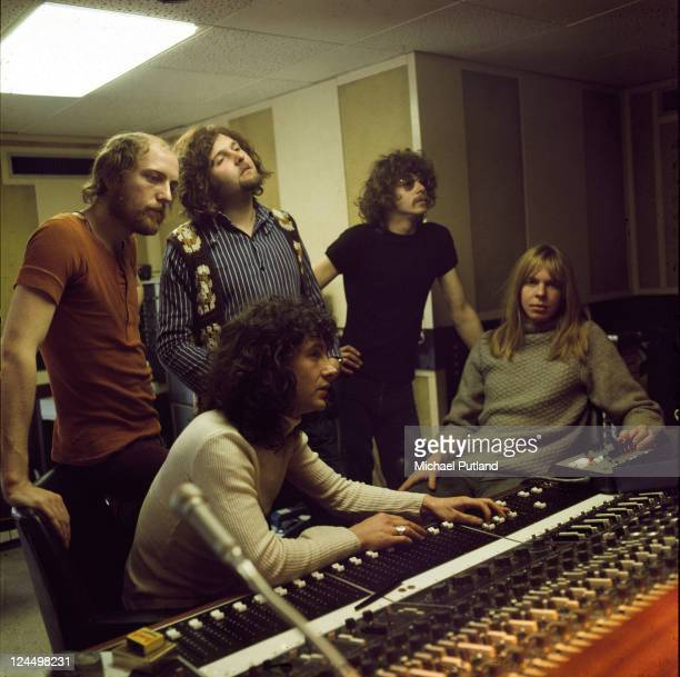 The Strawbs in the control room of a recording studio London 25th Match 1971 LR Richard Hudson Dave Cousins Tony Hooper John Ford Rick Wakeman