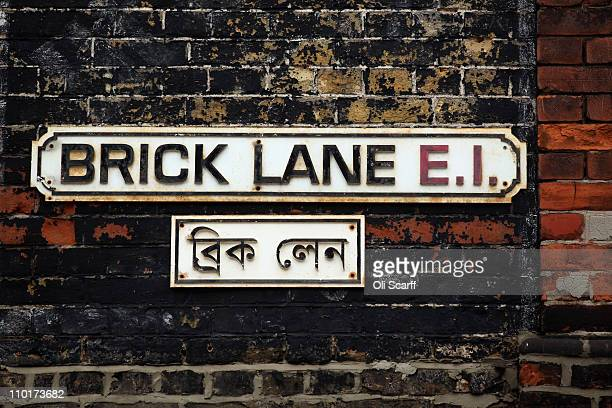The street sign for Brick Lane which is synonymous with curry restaurants March 16 2011 in London England From April 2011 the Government has ruled...