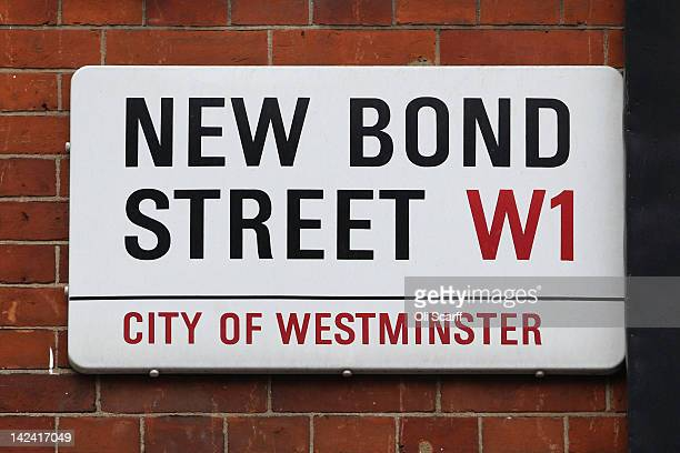 The street sign for New Bond Street which features on the London version of the Monopoly board game on April 4 2012 in London England