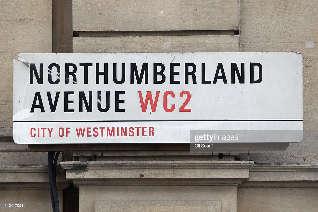 The street sign for Northumberland Avenue, which features on the London version of the Monopoly board game, on April 4, 2012 in London, England.