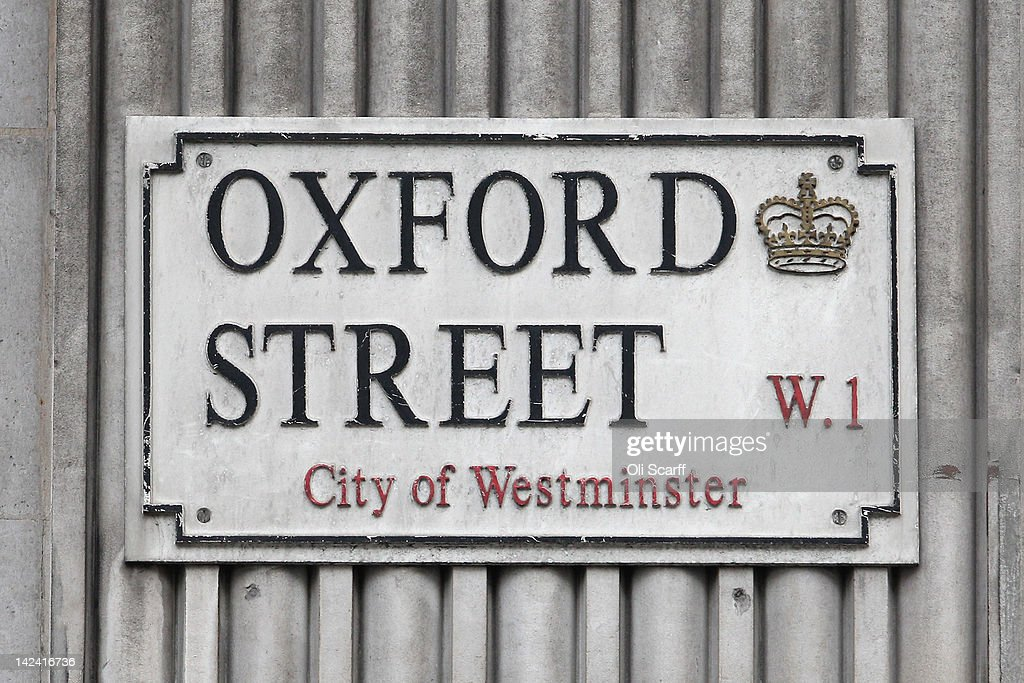 The street sign for Oxford Street, which features on the London version of the Monopoly board game, on April 4, 2012 in London, England.