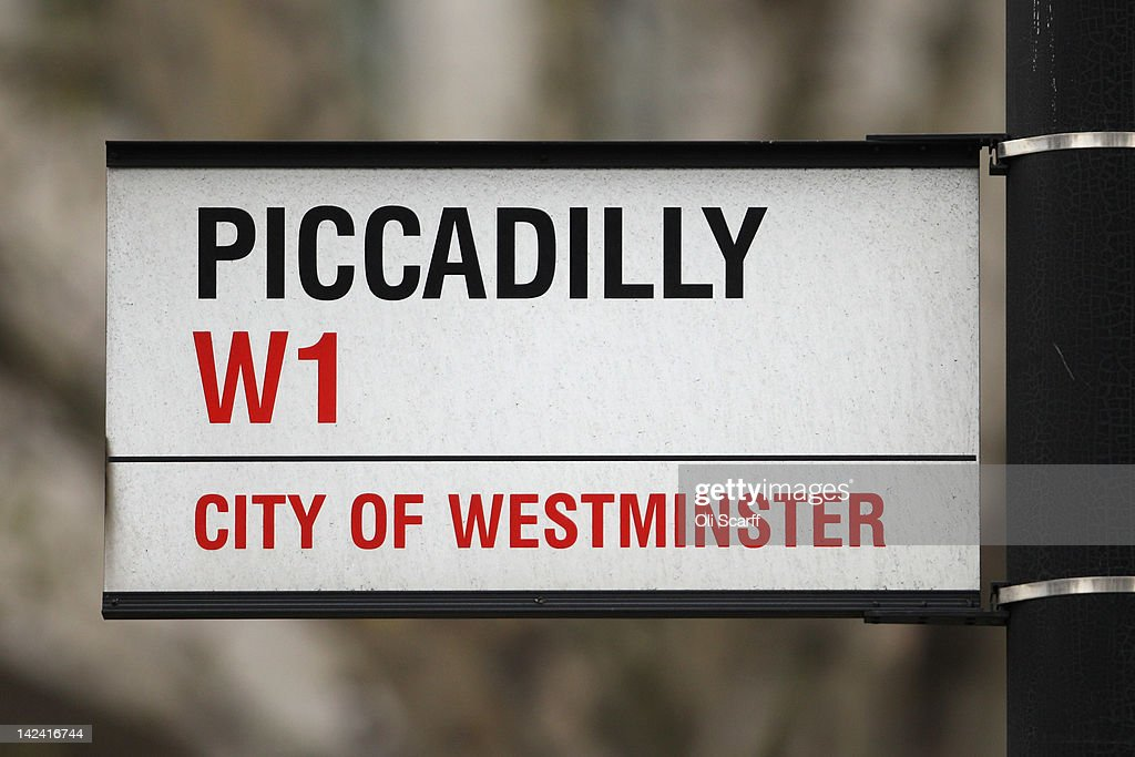 The street sign for Piccadilly, which features on the London version of the Monopoly board game, on April 4, 2012 in London, England.