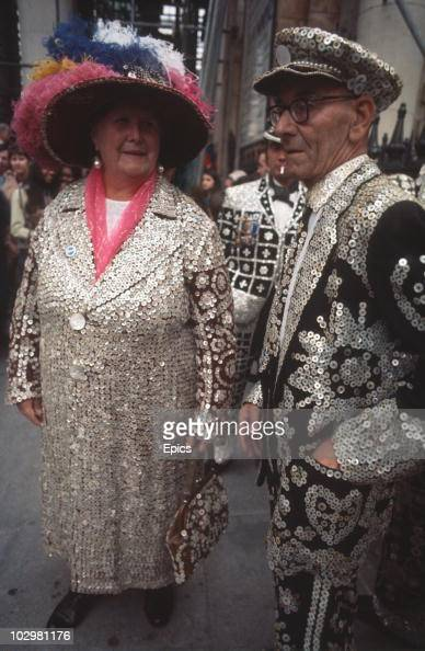 The street traders Pearly King and Queens attend a Harvest Festival at St MartinintheFields circa 1970