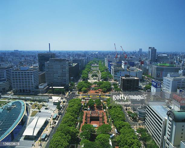 The Streets in Nagoya, Nagoya City, Japan, High Angle View, Pan Focus