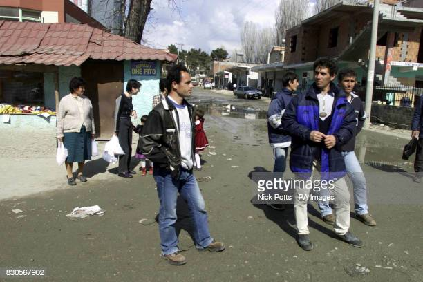 The streets of Tirana in Albania where men stand on street corners looking for construction work Picture taken during FA Goodwill visit prior to...
