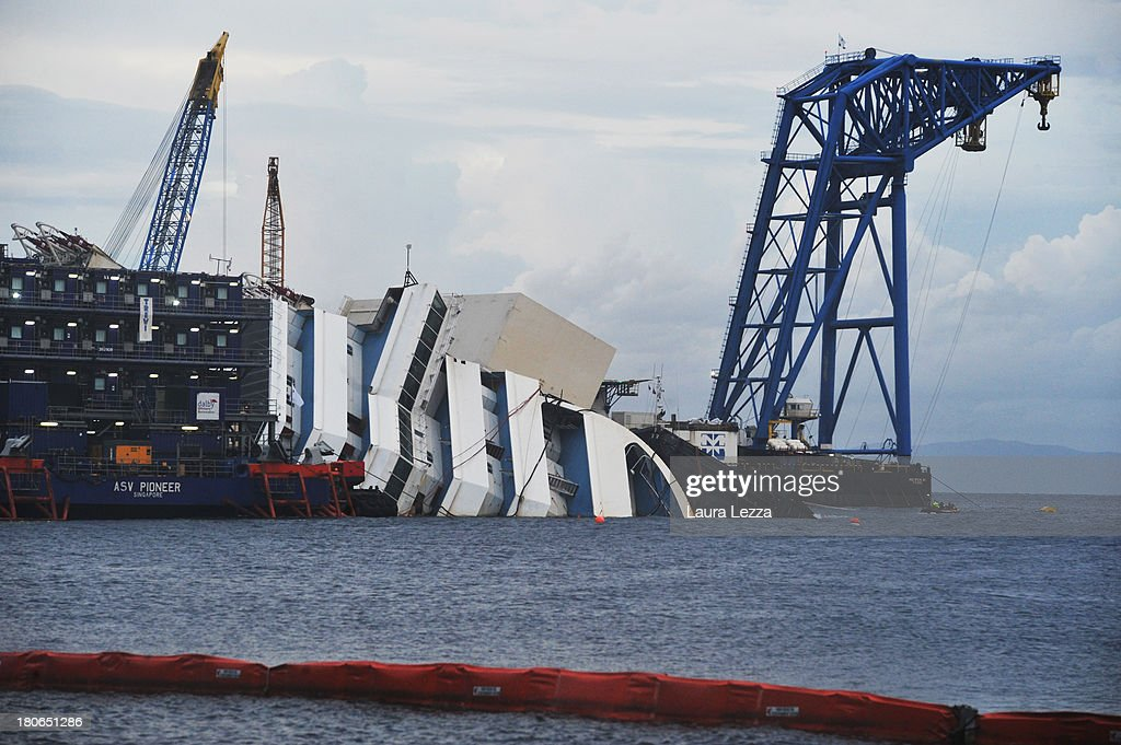The stricken Costa Concordia is prepared as the parbuckling project to upright the ship is set to begin on September 15, 2013 in Isola del Giglio, Italy. The Costa Concordia is reportedly due to be righted beginning on the morning of September 16, then, if the operation is successful, it will be towed away and scrapped.