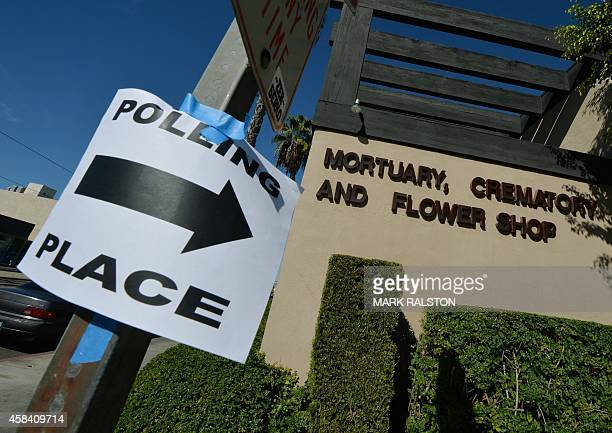 The Stricklin/Snively Mortuary which becomes a polling station during midterm elections in Long Beach California on November 4 2014 Americans voted...