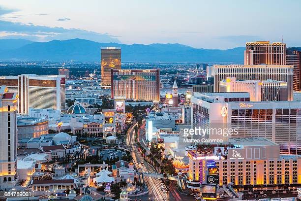 The Strip at dusk, Las Vegas, Nevada, USA
