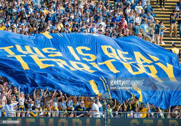 The student body rolls out a banner that says 'This Is Bear Territory' before the regular season PAC12 game between the California Golden Bears and...