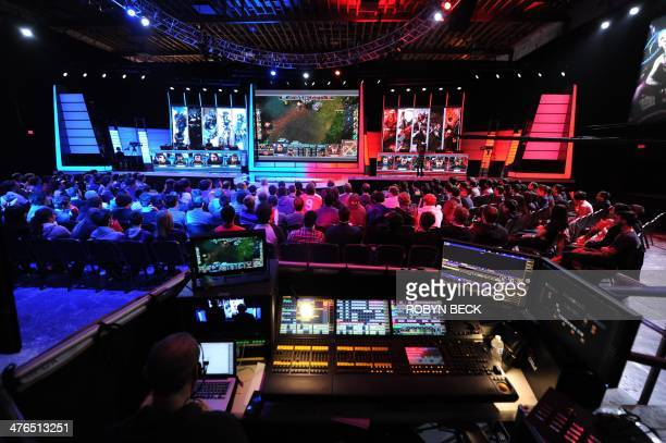 The studio audience watches a match between professional teams 'Dignitas' and 'Evil Genius' during the League of Legends North American Championship...