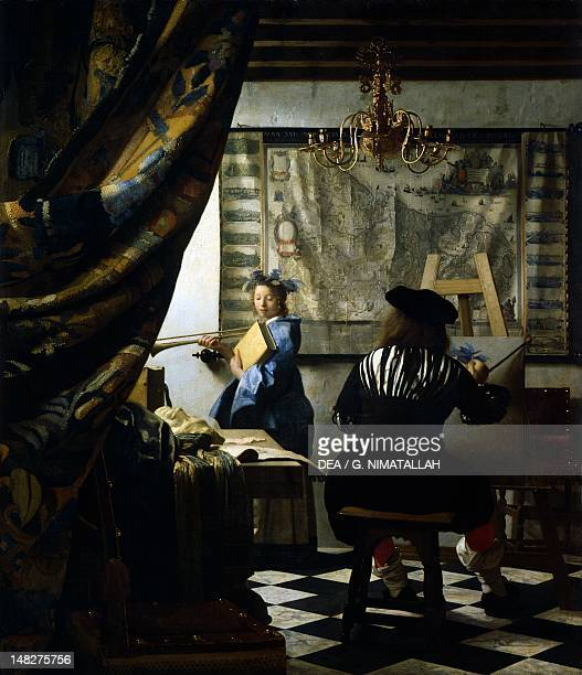 The studio or Allegory of painting ca 1666 by Jan Vermeer oil on canvas 120x100 cm Vienna Kunsthistorisches Museum