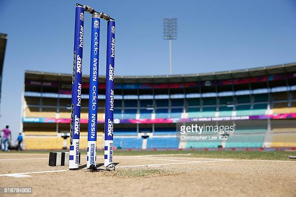 The stumps are ready for the match during the Women's ICC World Twenty20 India 2016 Group A match between Australia and New Zealand at the Vidarbha...