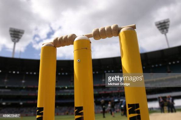 The stumps are seen during day four of the Fourth Ashes Test Match between Australia and England at Melbourne Cricket Ground on December 29 2013 in...