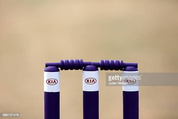 The stumps on the wicket before the Kia Super League women's cricket match between Loughbrough Lightning and Western Storm at The Haslegrave Cricket...
