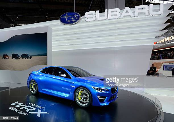 The Subaru concept car WRX is pictured during the press day at the international motor show IAA on September 9 2013 in Frankfurt am Main Germany The...