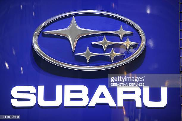 The Subaru logo is displayed at the carmaker's booth on March 2 2011 during the preview day ahead of the opening of the Geneva Motor Show in Geneva...