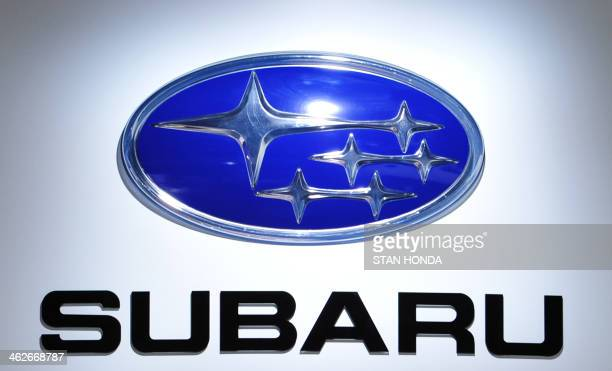 The Subaru logo is seen during a press preview at the North American International Auto Show January 14 2014 in Detroit AFP PHOTO/Stan HONDA