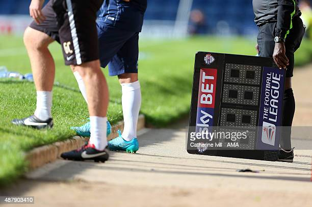 The substitutes board during the Sky Bet League One match between Southend United and Shrewsbury Town at Roots Hall on September 12 2015 in Southend...