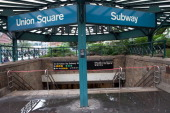 The subway entrance at Union Square sits closed on August 27 2011 in New York City The MTA decided to shut down the entire subway system due to...