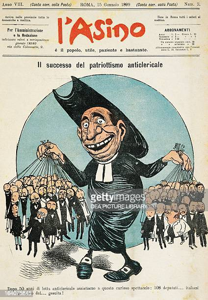 The success of anticlerical patriotism satirical cartoon from L'asino magazine January 15 1899 Italy 19th century