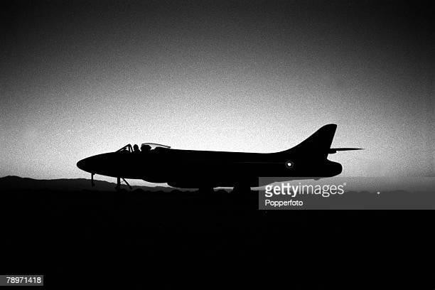The Suez Crisis Egypt Invasion Cyprus A jet fighter is pictured at dusk after a sortie at an Air Base in Cyprus