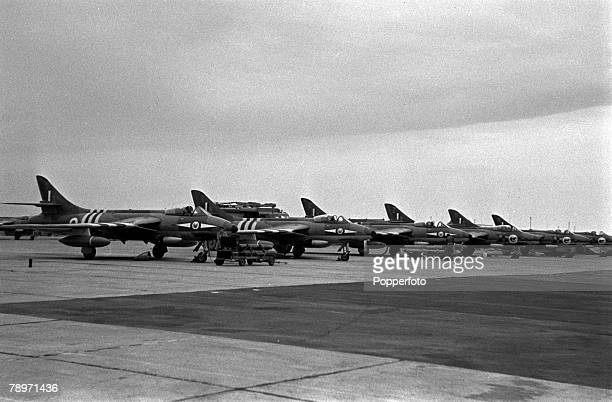 The Suez Crisis Egypt Invasion Cyprus Allied fighter aircraft are lined up on a Cyprus airfield prepared for immediate operations