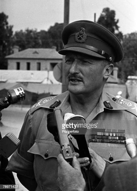 The Suez Crisis Egypt Invasion Cyprus General Sir Charles Keightly CommanderinChief of the Allied forces is pictured being interviewed by the press...