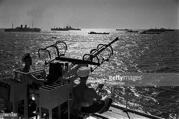 The Suez Crisis Egypt Invasion Cyprus Members of the Allied Forces are pictured manning guns as they prepare for immediate operations