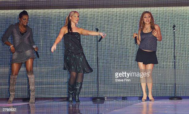 The Sugababes a girlband perform at the Clotheshow Live 2003 the world's largest consumer fashion and beauty show at the NEC on December 9 2003 in...