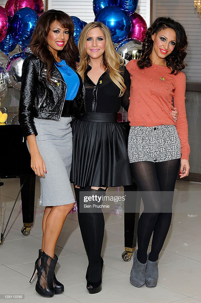 The Sugababes Amelle Berrabah Heidi Range and Jade Ewen attend the launch of 'Pop Goes The Musical' at The Roof Gardens on August 31 2011 in London...