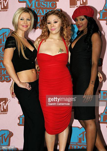 The Sugababes Heidi Range Mutya Buena and Keisha Buchanan pose in the Awards Room at the 12th annual MTV Europe Music Awards 2005 at the Atlantic...