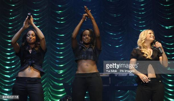 The Sugababes perform in concert as part of the Dock Rock series of gigs from Canary Wharf east London