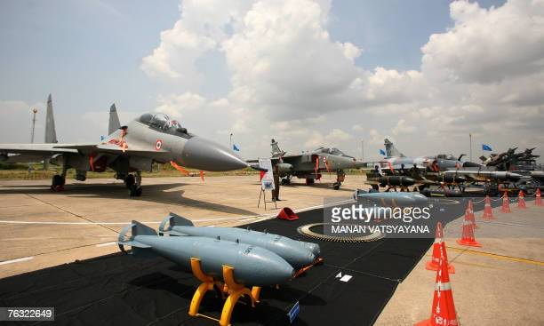 The Sukhoi30 fighter aircraft is displayed along with Jaguar and Mirage 2000 fighter jets at the Indian Air Force Station in Gwalior 25 August 2007...