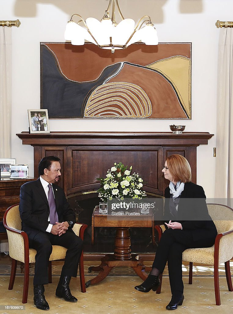 The Sultan of Brunei, Hassanal Bolkiah and the Prime Minister of Australia <a gi-track='captionPersonalityLinkClicked' href=/galleries/search?phrase=Julia+Gillard&family=editorial&specificpeople=787281 ng-click='$event.stopPropagation()'>Julia Gillard</a> talk in the drawing room of the Lodge on May 3, 2013 in Canberra, Australia. The Sultan met with Prime Minister <a gi-track='captionPersonalityLinkClicked' href=/galleries/search?phrase=Julia+Gillard&family=editorial&specificpeople=787281 ng-click='$event.stopPropagation()'>Julia Gillard</a> and Governor General Quentin Bryce during his three day visit to Australia for talks to strengthen the bilateral relationship between the two nations.