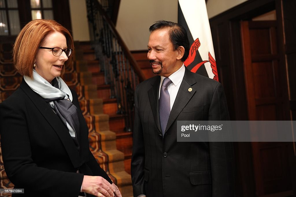 The Sultan of Brunei, Hassanal Bolkiah and the Prime Minister of Australia <a gi-track='captionPersonalityLinkClicked' href=/galleries/search?phrase=Julia+Gillard&family=editorial&specificpeople=787281 ng-click='$event.stopPropagation()'>Julia Gillard</a> talk at the Lodge on May 3, 2013 in Canberra, Australia. The Sultan met with Prime Minister <a gi-track='captionPersonalityLinkClicked' href=/galleries/search?phrase=Julia+Gillard&family=editorial&specificpeople=787281 ng-click='$event.stopPropagation()'>Julia Gillard</a> and Governor General Quentin Bryce during his three day visit to Australia for talks to strengthen the bilateral relationship between the two nations.