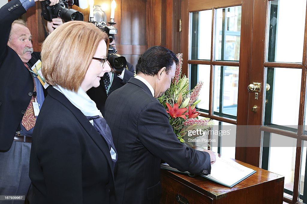 The Sultan of Brunei, Hassanal Bolkiah signs the visitors book at the Lodge on May 3, 2013 in Canberra, Australia. The Sultan met with Prime Minister Julia Gillard and Governor General Quentin Bryce during his three day visit to Australia for talks to strengthen the bilateral relationship between the two nations.