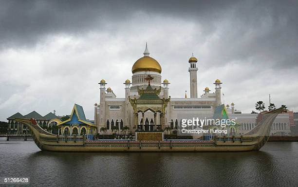 The Sultan Omar Ali Saifuddien Mosque is seen September 6 Bandar Seri Begawan Brunei Although the rainy season has started many people in Brunei say...