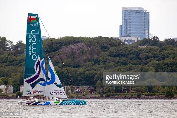 The Sultanate of Oman's MusandamOman Sail sails on St Lawrence River on July 13 2016 for the Transat Quebec SaintMalo race in Quebec City Every four...