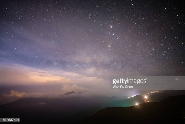 The summer Milky Way rises over mountain
