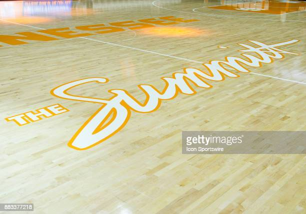 The Summit log on on Tennessee's basketball court during a game between the Central Arkansas Sugar Bears and Tennessee Lady Volunteers on November 30...