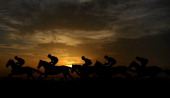 The sun begins to set as runners pass the grandstands at Huntingdon racecourse on December 12 2013 in Huntingdon England